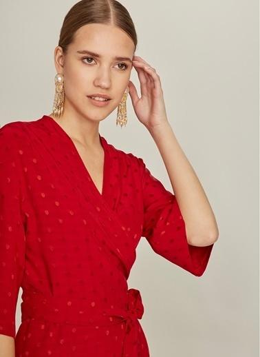 NGSTYLE Jakar Kumaşlı Kimono Elbise Kırmızı